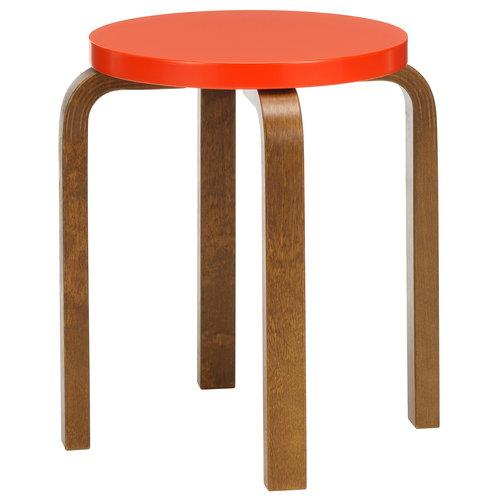 Artek Aalto stool E60, bright red - walnut