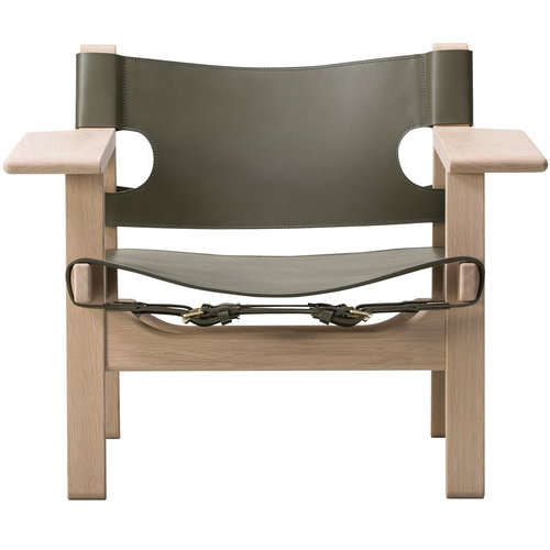 Fredericia The Spanish Chair, olive green leather - soaped oak