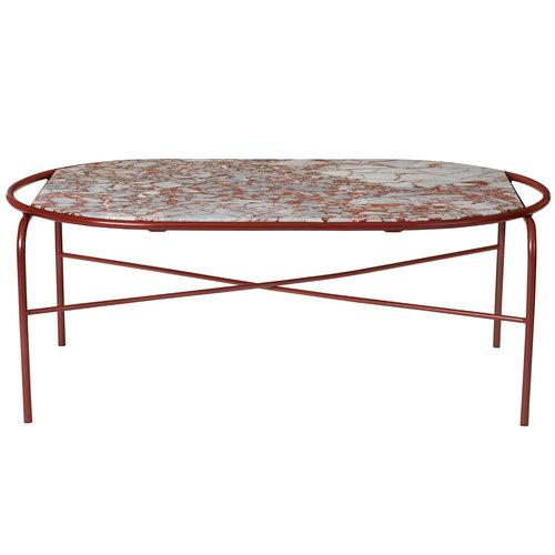 Warm Nordic Secant sohvapöytä, ovaali, punainen marmori