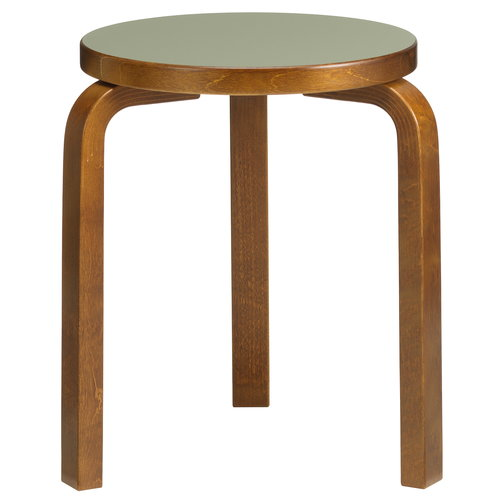 Artek Aalto stool 60, olive linoleum - walnut