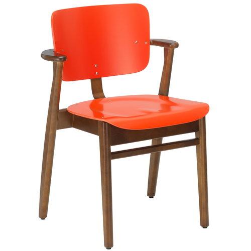 Artek Domus chair, bright red - walnut stain