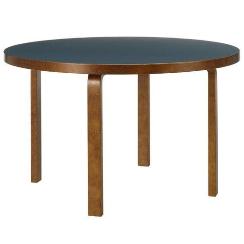 Artek Aalto table 91, blue linoleum - walnut