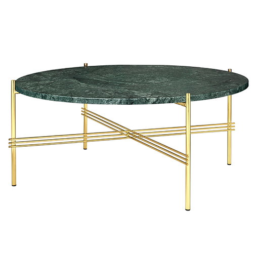 Gubi TS coffee table, 80 cm, brass - green marble