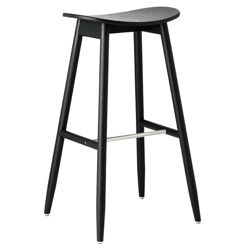 Massproductions Icha bar stool, 75 cm, black stained oak