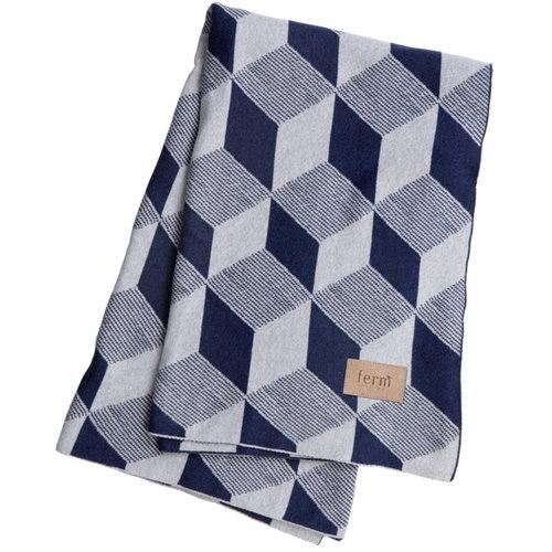 Ferm Living Squares blanket, blue