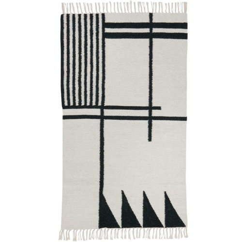 Ferm Living Kelim rug, Black Lines, small
