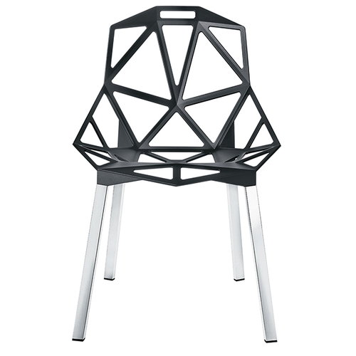 Magis Chair One, anthracite, polished aluminium legs