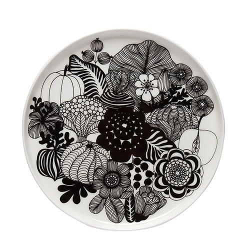 Marimekko Oiva - Siirtolapuutarha lautanen, 20 cm, musta-valkoinen