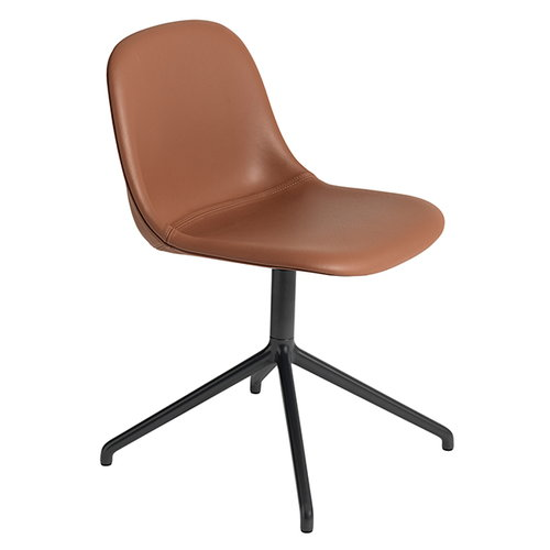 Muuto Fiber side chair, swivel base, cognac leather/black
