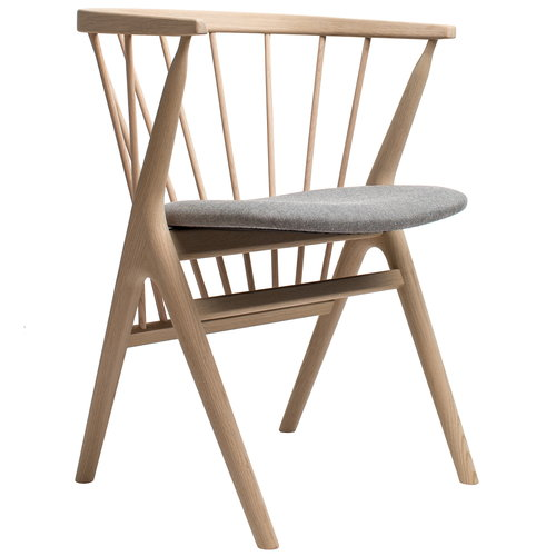 Sibast No 8 chair, soaped oak - grey fabric
