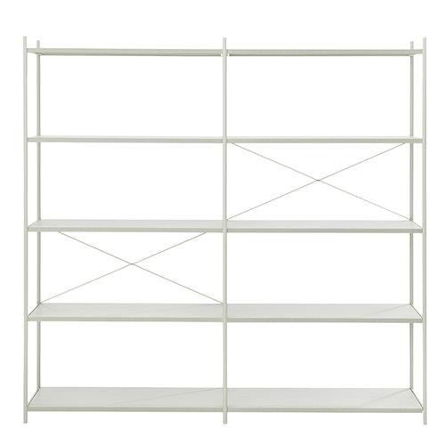 Ferm Living Punctual shelf, 2 x 5, grey