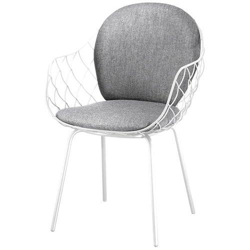 Magis Pina tuoli, valkoinen metallirunko, harmaa istuin