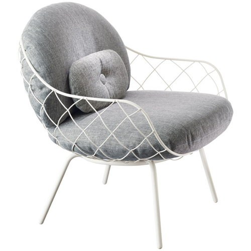 Magis Pina lounge chair, white steel frame, grey seat