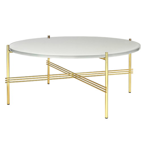 Gubi TS coffee table, 80 cm, brass - white glass
