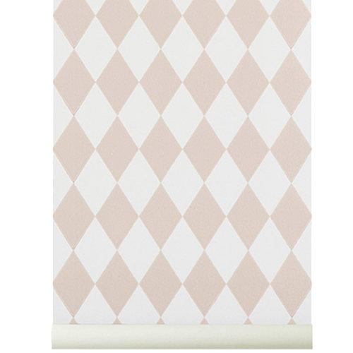 Ferm Living Harlequin tapetti, roosa