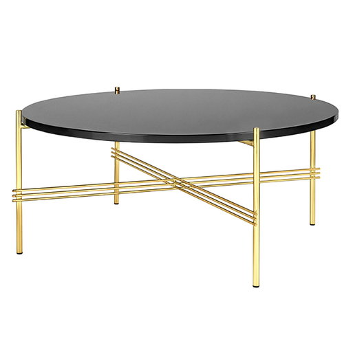 Gubi TS coffee table, 80 cm, brass - black glass