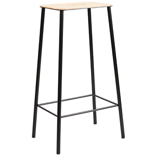 Frama Adam stool, 76 cm, leather - matt black