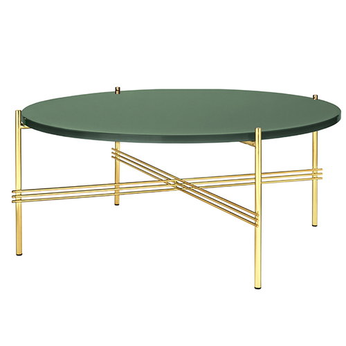 Gubi TS coffee table, 80 cm, brass - green glass