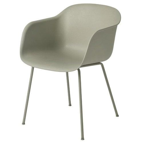Muuto Fiber tuoli käsinojilla, putkijalat, vihreä