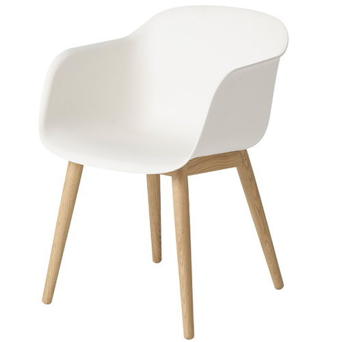 Muuto Fiber armchair, wood base, white/oak