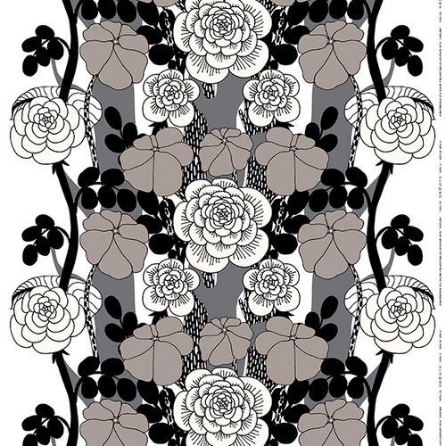 Marimekko Unelma fabric, grey-black