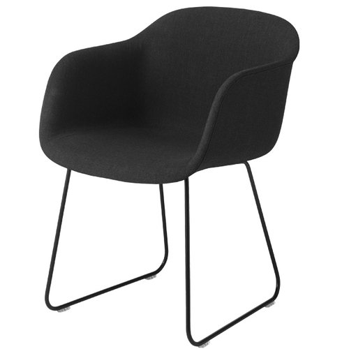 Muuto Fiber armchair, sled base, Remix 183/black