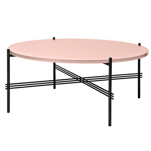 Gubi TS coffee table, 80 cm, black - pink glass