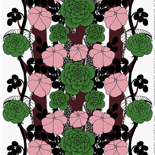 Marimekko Unelma fabric, rosa-green