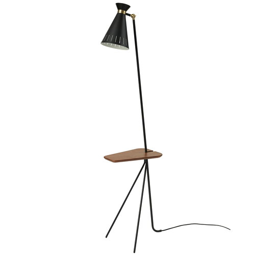 Warm Nordic Cone floor lamp with table, black