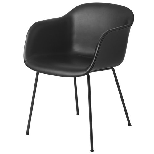 Muuto Fiber armchair, tube base, black leather