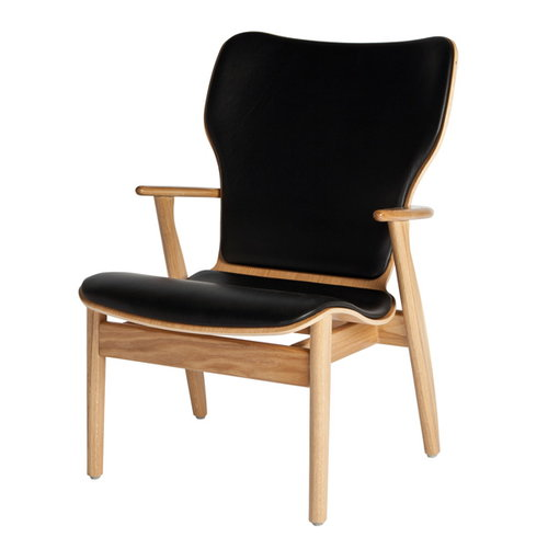 Artek Domus lounge chair, lacquered oak, black leather upholstered