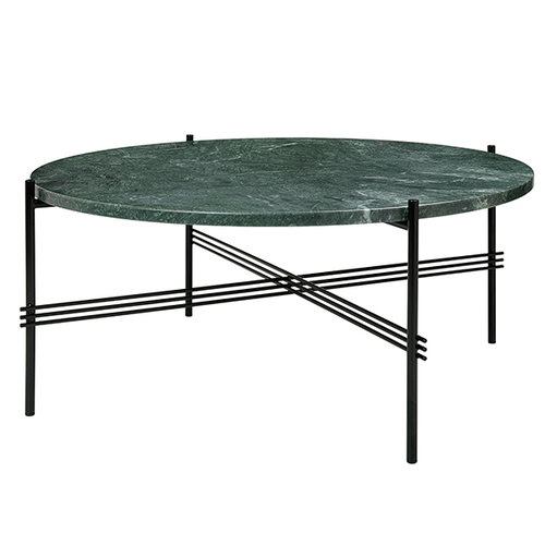 Gubi TS coffee table, 80 cm, black - green marble