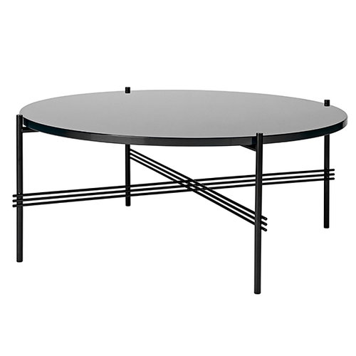 Gubi TS coffee table, 80 cm, black - black glass