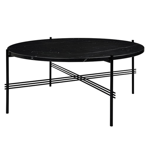 Gubi TS coffee table, 80 cm, black - black marble