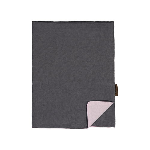 Lang� Pillowcase, linen, dark grey - pink