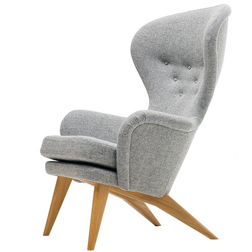 Fasetti Siesta armchair, oak legs, light grey