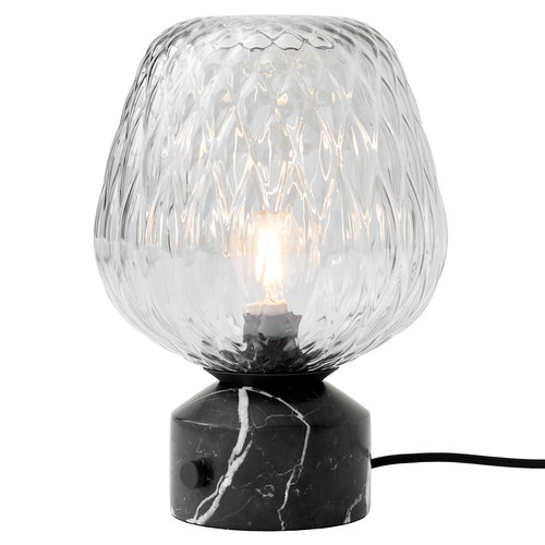 &Tradition Blown SW6 table lamp, silver - black marble