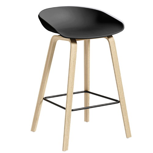 Hay About A Stool AAS32, black-matt oak, black footrest, 65 cm