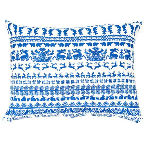 Saana ja Olli Y� mets�ss� interior pillow, large, white-blue