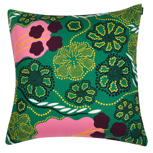 Marimekko Helmikk� cushion cover, green - pink - purple
