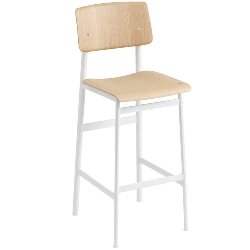 Muuto Loft bar stool 75 cm, white - oak