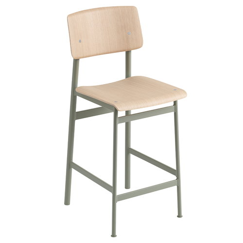 Muuto Loft bar stool 65 cm, dusty green - oak