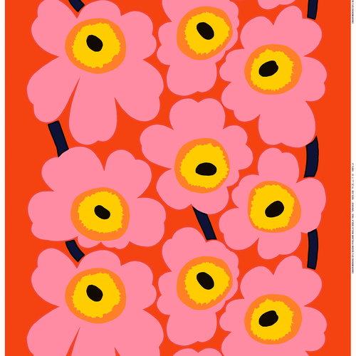 Marimekko  Unikko batistikangas, oranssi - pinkki - keltainen