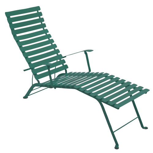 Fermob bistro metal chaise longue cedar green finnish for Chaise longue jardin metal