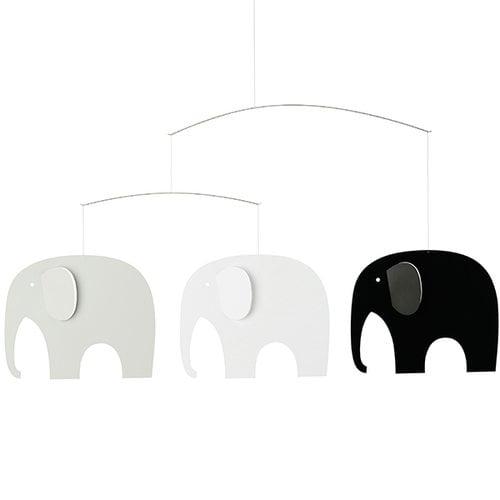 Flensted Mobiles Elephant Party mobile, musta-valkoinen