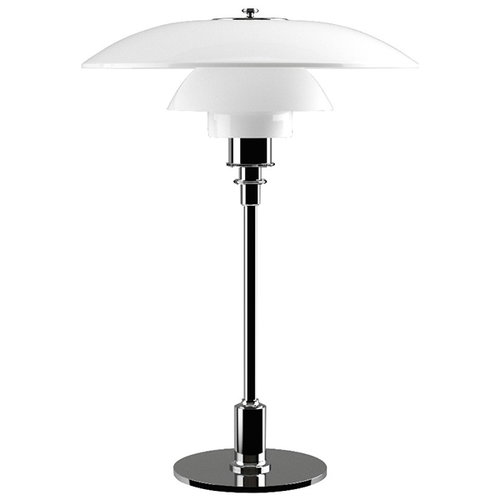 Louis Poulsen PH 3 1/2 - 2 1/2 table lamp, chrome plated, opal glass