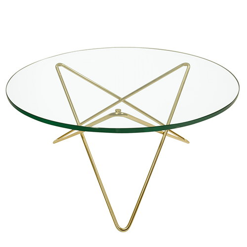 OX Denmarq O table, brass - green glass