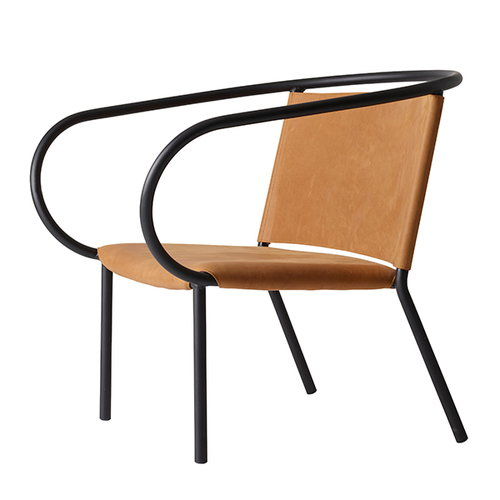 Menu Afteroom lounge chair, cognac silk leather