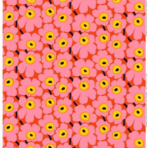 Marimekko Pieni Unikko   fabric, orange - pink - yellow