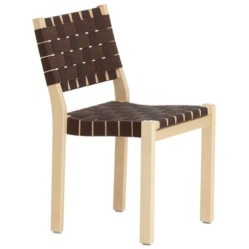 Artek Chair 611, birch - black/brown webbing